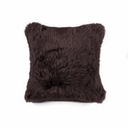Union Rustic Siemering Sheepskin Throw Pillow; Chocolate