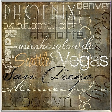 Williston Forge 'Cities of the World II' Textual Art; Silver Metal Framed Paper