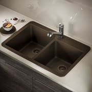 MRDirect Trugranite 33'' x 22'' Double Basin Drop-In Kitchen Sink; Mocha