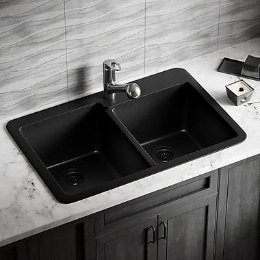 MRDirect Trugranite 33'' x 22'' Double Basin Drop-In Kitchen Sink; Black