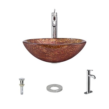 MRDirect Foil Undertone Glass Circular Vessel Bathroom Sink; Chrome