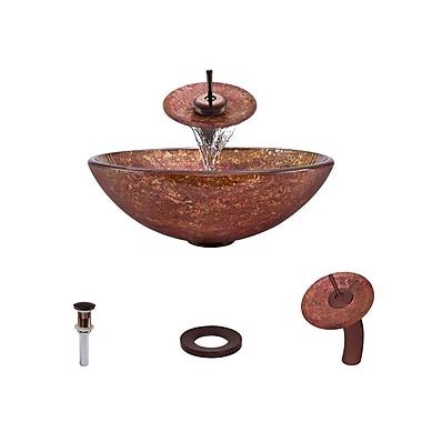MRDirect Foil Undertone Glass Circular Vessel Bathroom Sink; Antique Rubbed Bronze