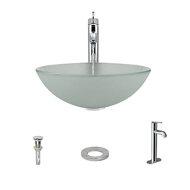 MRDirect Glass Circular Vessel Bathroom Sink; Chrome