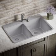 MRDirect Trugranite 33'' x 22'' Double Basin Drop-In Kitchen Sink; Silver