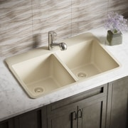 MRDirect Trugranite 33'' x 22'' Double Basin Drop-In Kitchen Sink; Beige