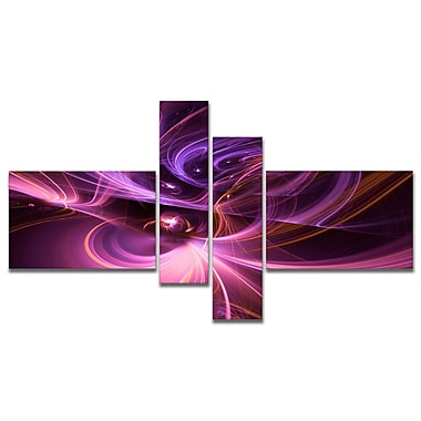 East Urban Home 'Purple Fractal Light Art in Dark' Graphic Art Print Multi-Piece Image on Canvas