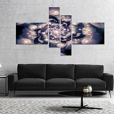 East Urban Home 'Black White Fractal Flower in Dark' Graphic Art Print Multi-Piece Image on Canvas