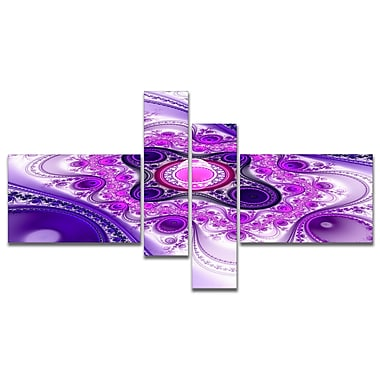 East Urban Home 'Purple Wavy Curves and Circles' Graphic Art Print Multi-Piece Image on Canvas