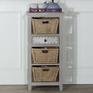 Gracie Oaks Sceinnker Accent Cabinet w/ 3 Baskets; Taupe