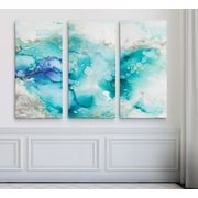 Ivy Bronx 'Teal Marble' Acrylic Painting Print Multi-Piece Image on Wrapped Canvas; 24'' H x 36'' W