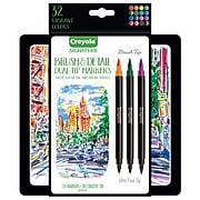 Crayola Brush & Detail Dual Tip Markers, Brush Tip/Ultra Fine Tip, 16/Pack (58-6501)