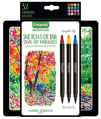 Crayola 16ct Sketch & DetailDual Ended Markers - Super Tip/Ultra Fine Tip