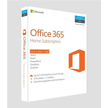 Microsoft – Office 365 Famille, abonnement d'un an, anglais