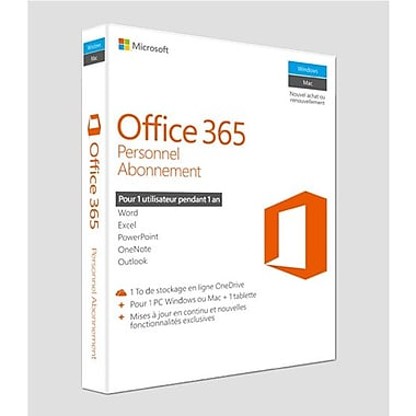 Microsoft Office 365 Personal, 1-Year Subscription, French