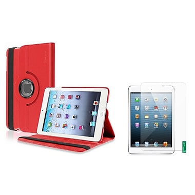 Insten® Leather Case and 2-Piece Anti-Glare Protectors For iPad Mini 2 3, Green, Red(1013319)