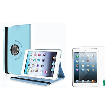 Insten® Leather Case and 2-Piece Anti-Glare Protectors For iPad Mini 2 3, Green, Light Blue(1013321)