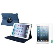 Insten Navy Blue Leather Case+2 Packs Anti-Glare Screen Protector For iPad Mini 1 2 3