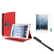 Insten Red Multi Viewing Leather Case+Film+Stylus For iPad Mini 3 2 1 (Support Auto Sleep/Wake)