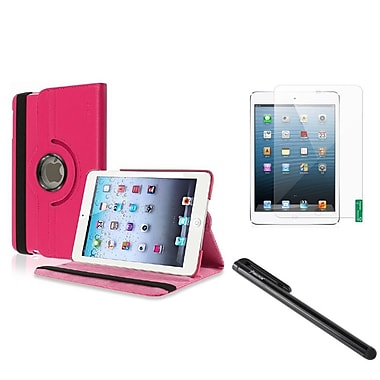 Insten® Leather Case with Anti Glare Screen Protector and Black Stylus For iPad Mini 1 2 3, Hot Pink(1013448)
