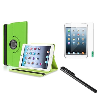 Insten® Leather Case with Anti Glare Screen Protector and Black Stylus For iPad Mini 1 2 3, Green(1013449)