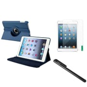 Insten Navy Blue Multi Viewing Leather Case+Film+Stylus For iPad Mini 3 2 1 (Auto Sleep/Wake)