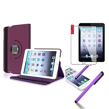 Insten Retina Display 360 Degree Rotating PU Leather Case Cover w Swivel Stand For iPad Mini 3 / 2 / 1 - Purple