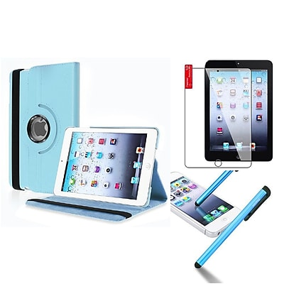Insten Retina Display 360 Degree Rotating PU Leather Case Cover w Swivel Stand For iPad Mini 3 / 2 / 1 - Light Blue (1027818)