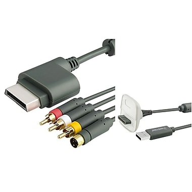 Insten® 2-Piece Game Cable Bundle For Microsoft Xbox 360 Slim Wireless Controller(1034917)