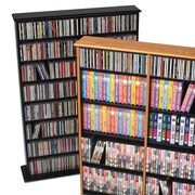 Red Barrel Studio AJ Double Width Multimedia Storage Rack; Black