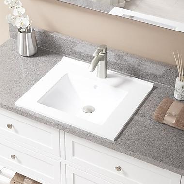 MRDirect Porcelain Rectangular Vessel Bathroom Sink w/ Overflow; Brushed Nickel