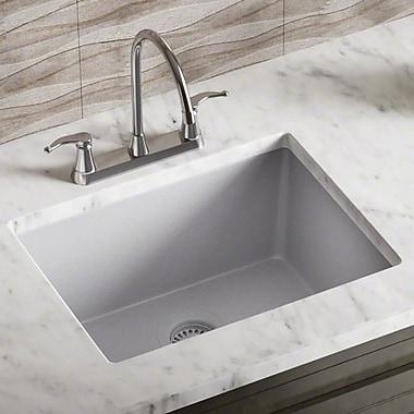 MRDirect Trugranite 22'' x 17'' Undermount Kitchen Sink w/ Drain; Silver