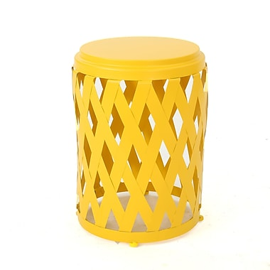 Varick Gallery Ramiro Outdoor Iron End Table; Yellow