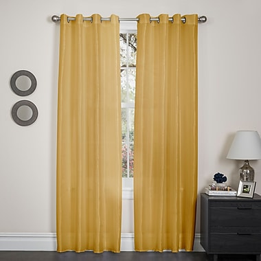 Varick Gallery Randwick Solid Semi-Sheer Grommet Single Curtain Panel; Mustard