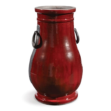 World Menagerie Beamond Tall Urn Red Table Vase w/ Metal Handles