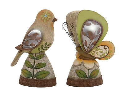 Cole & Grey The Sweetest Polystone 2 Piece Solar Bird and Butterfly Figurine Set