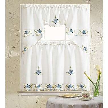August Grove Polsky 3 Piece Kitchen Curtain Set; Blue