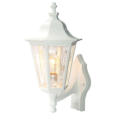 August Grove Mishra Traditional 1-Light Glass Shade Outdoor Sconce; Textured White