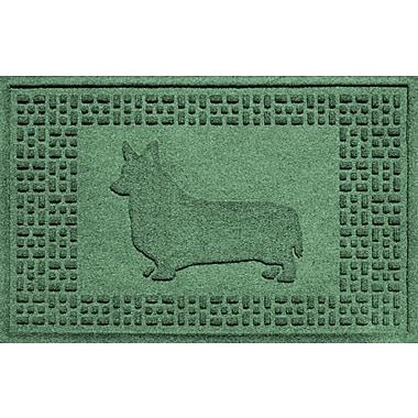 Red Barrel Studio Conway Corgi Doormat; Light Green