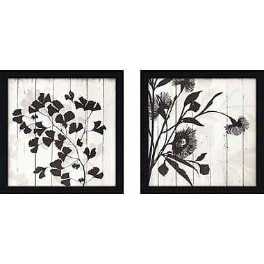 Gracie Oaks 'Shadow On Wood' 2 Piece Framed Graphic Art Print Set on Glass