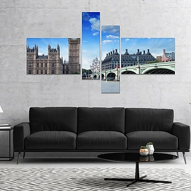 'Houses of Parliament and Westminster Bridge' Photographic Print Multi-Piece Image on Canvas