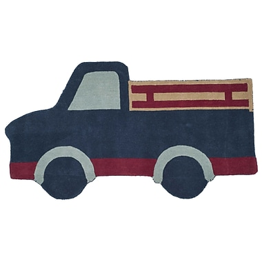 Zoomie Kids Ellery Truck Hand Tufted/Hand Loomed Wool Blue Area Rug; Rectangle 3'9'' x 7'
