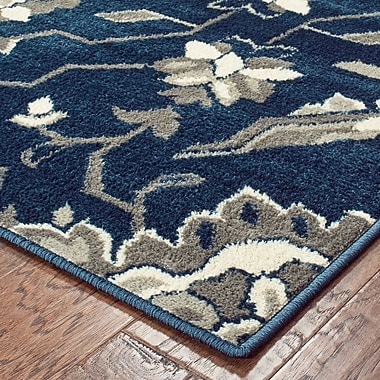 Charlton Home Stronghurst Traditional Blue/Grey Area Rug; Rectangle 7'10'' X 10'