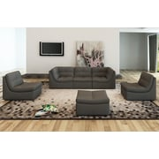 Brayden Studio Weisman 6 Piece Leather Modular Sofa Set; Gray