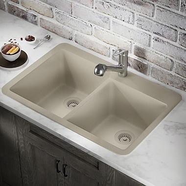 MRDirect Trugranite 33'' x 22'' Double Basin Drop-In Kitchen Sink; Slate