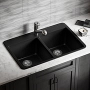 MRDirect Trugranite 33'' x 22'' Double Basin Drop-In Kitchen Sink; Black