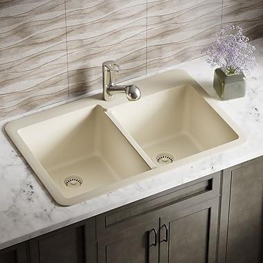 MRDirect Trugranite 33'' x 22'' Double Basin Drop-In Kitchen Sink; Beige