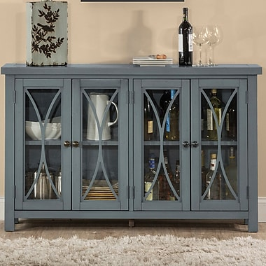 Bungalow Rose Sierra Madre 4 Door Accent Cabinet; Blue