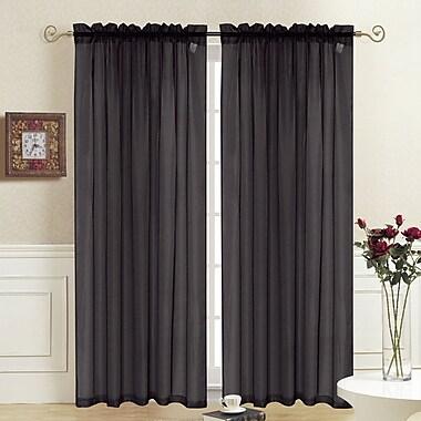 August Grove Odoms Solid Semi-Sheer Rod Pocket Single Curtain Panel; Black