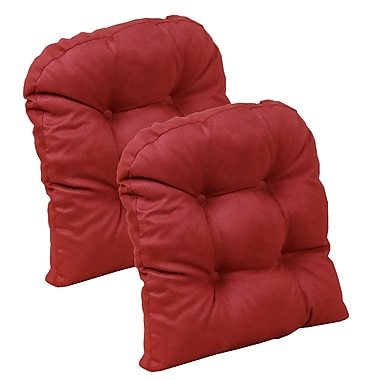August Grove 2 Piece Chair Cushion (Set of 2); Red