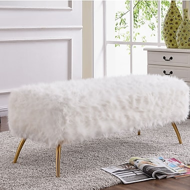 Mercer41 Palomar Upholstered Bench; White